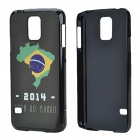 2014 World Cup Brazil Flag Pattern Aluminum Alloy Back Case w/ Card Slot for Samsung Galaxy S5