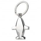 Mini Airplane Style Steel Metal Keychain w/ Compass - Silver