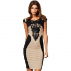 Cotton Bodycon Backless Embroidered Short-sleeved Dress - Black + Off-White (XL)