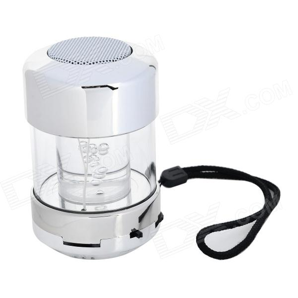 LC-A16 Fashionable 3.5mm 2.0-CH LED Speaker w/ TF / FM / Strap - Silver + White