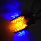 Waterproof 2W 112LM 9-LED Yellow + 3-LED Blue Light Steering Lamp for Motorcycle (12V / 2 PCS)