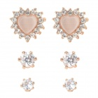 Women's Fashionable Zinc Alloy + Opal + Rhinestone Ear Stud Set - Golden + Silvery White (3 Pairs)