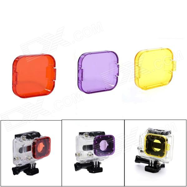 JUSTONE Professional Diving Housing Yellow / Orange / Purple Filters for GoPro Hero 3