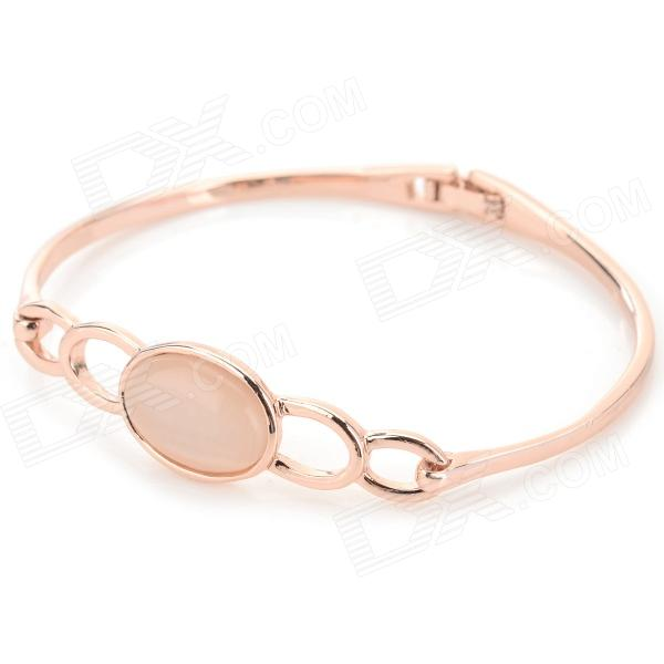 Elegant Five Rings Style Zinc Alloy + Opal Bracelet for Women - Champagne Gold