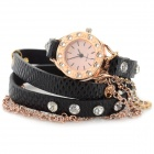 Women's Bracelet Style Aluminum Alloy Casing PU Band Rhinestone Inlaid Analog Quartz Watch (1 x 377)