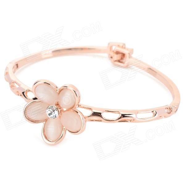 Daffodil Shaped Hollow Out Style Zinc Alloy + Opal Bracelet for Women - Rose Gold