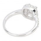 Women's Square Shaped Rhinestone Inlaid Ring for Women - Silver (U.S Size 7)
