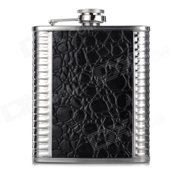 Portable Stainless Steel + Leather Alcohol Bottle - Black + Silver