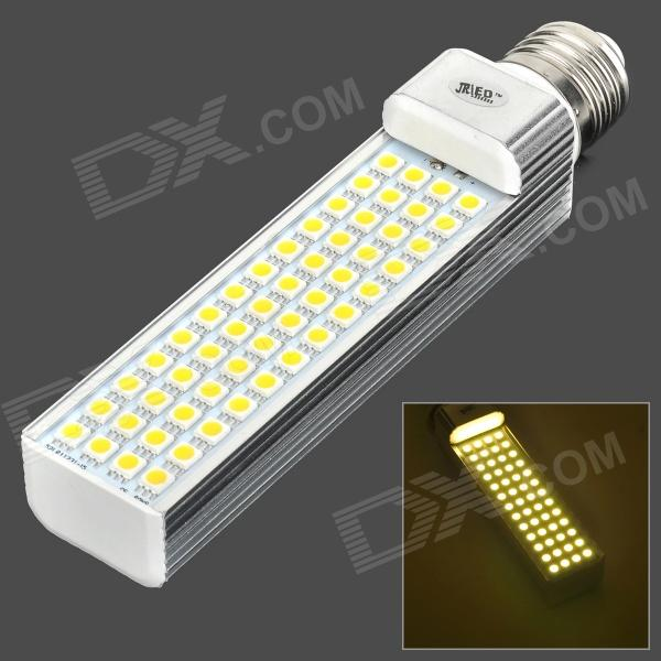 JR-LED E27 11W 600LM 3300K 52-5050 SMD LED Warm White Light Bulb - White + Silver (AC 85~265V) r7s 15w 5050 smd led white light spotlight project lamp ac 85 265v