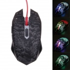X-LSWAB T9 Fashionable 2400DPI Wired USB Optical Gaming Mouse w/ Color LED Light - Black