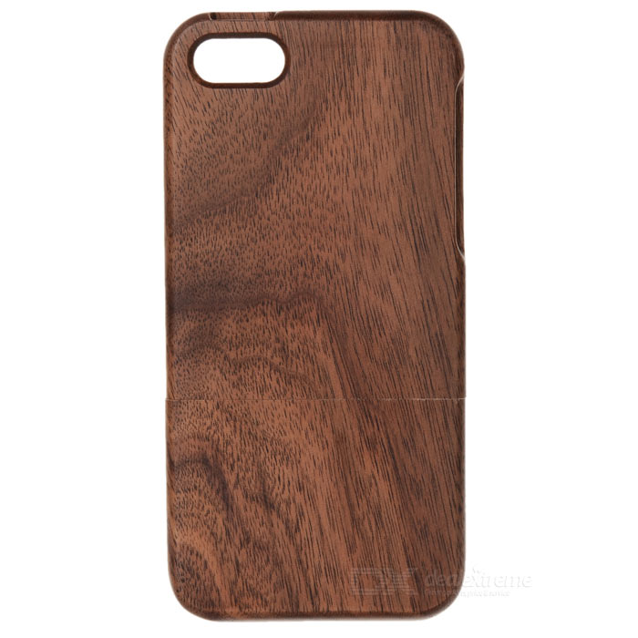 Protective Walnut Wood Joint Back Case for IPHONE 5 / 5S - Brown