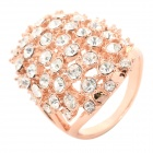 Shield Style Rhinestone Inlaid Zinc Alloy Ring for Women - Golden + Silvery White (U.S Size 7)