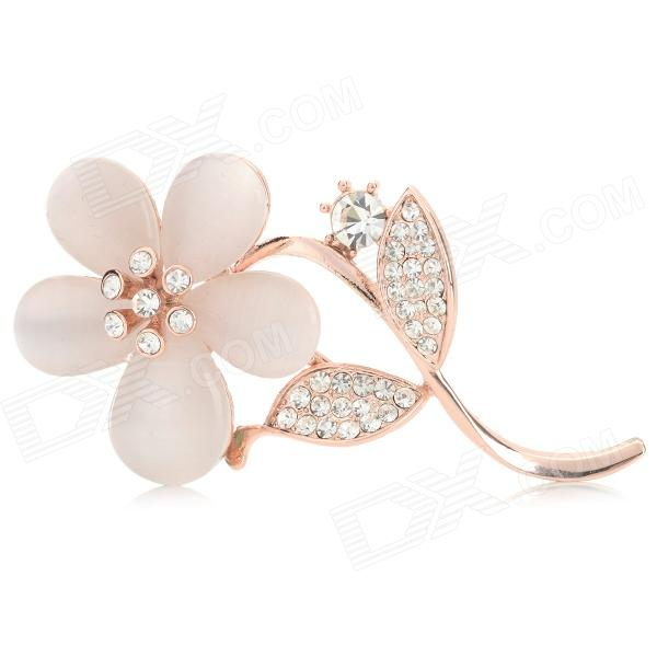 Fashionable Gardenia Shaped Rhinestone Inlaid Brooch - Rose Golden + Beige