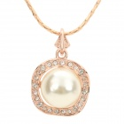 Women's Elegant Round Artificial Pearl Ornament Rhinestone Inlaid Pendant Necklace - Golden + White