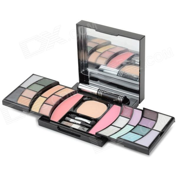 25-Color Eye Shadow + Lip Gloss + Concealer Make-up Powder Set w/ Mirror - Black