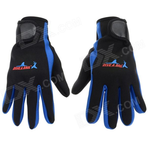 Convenient SCR + Nylon Sports Diving Gloves - Black + Dark Blue + Red (Size S)