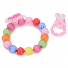 Girls 'plástico colorido del estilo lindo conejo pulsera + Ring Set - blanco + Multicolor (10 Set)