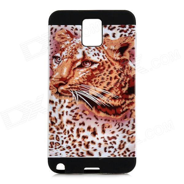 Stylish Leopard Pattern PVC + Silicone Back Case for Samsung Note 3 N9000 - Black Leopard 8x zoom telescope lens back case for samsung i9100 black