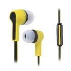 S-What Stylish 3.5mm Jack Wired In-ear Stereo Headphone w/ Microphone - Black + Yellow