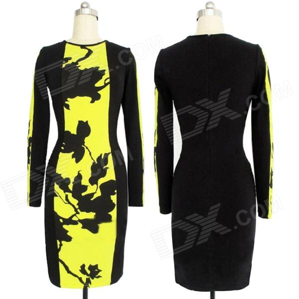 WS-2650 Fashionable Cotton Bodycon Long Sleeves Dress - Black + Yellow (Size XL) stylish cotton long sleeves one piece dress black multicolor size m