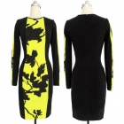WS-2650 Fashionable Cotton Bodycon Long Sleeves Dress - Black + Yellow (Size XL)