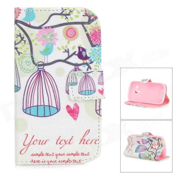 IKKI Sweet Cartoon Pattern Flip-open PU Case w/ Holder + Card Slot for Samsung Galaxy S3 Mini i8190