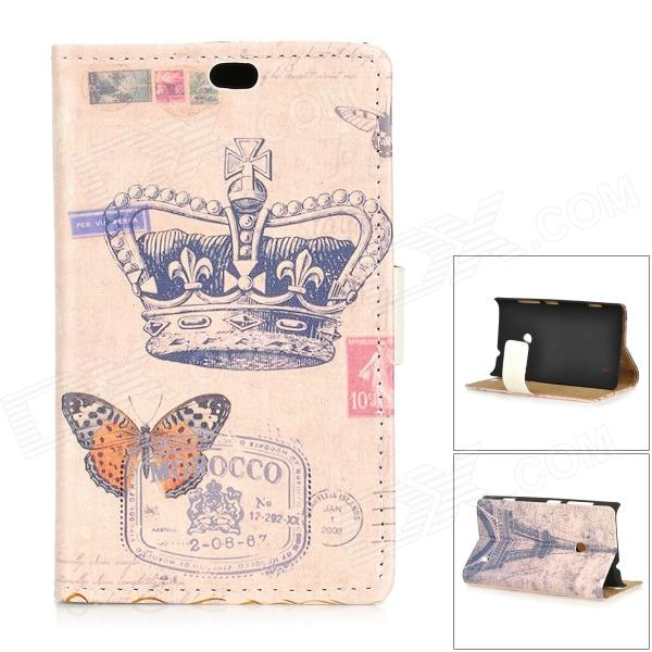 Retro Crown Pattern Flip-open PU + PC Case w/ Holder + Card Slot for Nokia 525 / 520 - Beige + Blue statue of liberty pattern flip open pu pc case w stand card slots for nokia 525 520