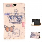 Retro Crown Pattern Flip-open PU + PC Case w/ Holder + Card Slot for Nokia 525 / 520 - Beige + Blue