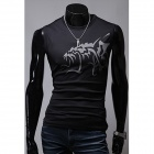 Men's Chinese Wind Evil Wolf Pattern Tight Round Collar Sleeveless T-Shirt - Black (Size XL)