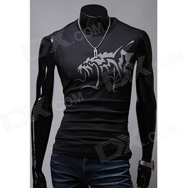 Men's Chinese Wind Evil Wolf Pattern Tight Round Collar Sleeveless T-Shirt - Black + Silver (XXL)