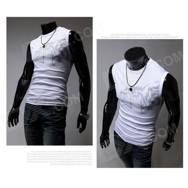 Men's Chinese Wind Evil Wolf Pattern Tight Round Collar Sleeveless T-Shirt - White + Black (Size M)
