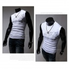 Men's Chinese Wind Evil Wolf Pattern Tight Round Neck Sleeveless T-Shirt - White + Black (Size M)