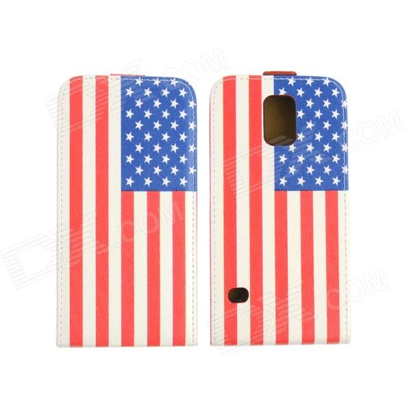 Flag of USA Style Protective Flip-Open PU Leather Plastic Case for Samsung Galaxy S5