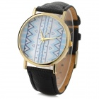 Fashionable Zinc Alloy Casing PU Band Analog Quartz Watch - Black (1 x 377 Battery)