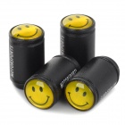 YFY-13 Universal Cute Smiley Emoji Pattern Matte Aluminum Alloy Valve - Black + Yellow (4 PCS)