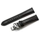 CHIMAERA CY-A-20-BK50 20mm Cow Leather Replacement Watch Band Strap - Black