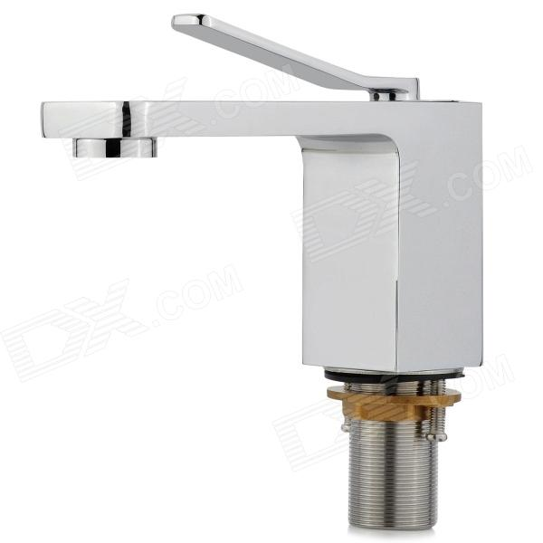 PHASAT 4713 Square Chrome-plated Brass Basin Water Faucet w/ Zinc Alloy Handle - Silver