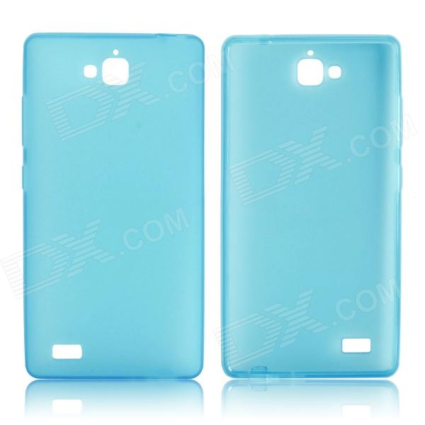 DF-001 Protective TPU Case w/ Anti-dust Plugs for Huawei Honor 3C - Light Blue