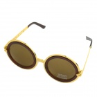 OUMILY Retro Style Round PC Lens UV400 Protection Sunglasses for Women - Golden