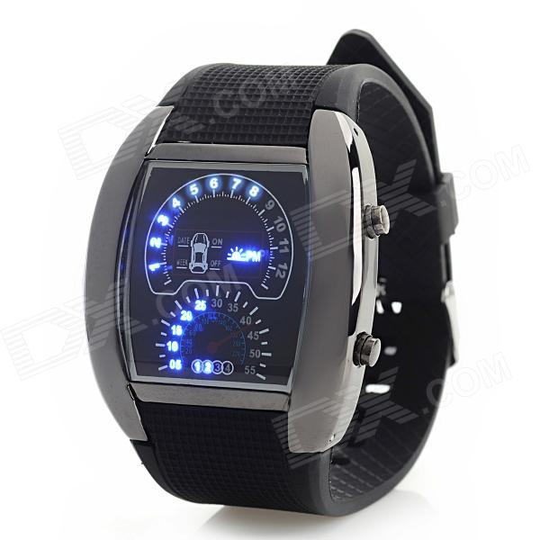 Men's Dash Board Style LED Digital Wristwatch - Black (2 x 2016)
