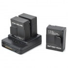 JUSTONE Smart Multifunction 2-Slot Battery Charger + 3-1300mAh Batteries for GoPro Hero 3/3+ - Black