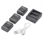 JUSTONE 2-Slot Charger + 1300mAh Batteries for GoPro Hero 3/3+ - Black