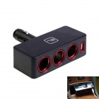Kinrener 1-to-3 Car Cigarette Lighter Socket Power Adapter w/ USB Output - Black (12~24V)