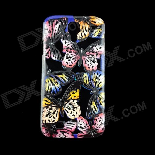 A1LJ Butterfly Pattern Protective Plastic Back Case for Samsung Galaxy S4 i9500 - Black + Pink protective cute spots pattern back case for samsung galaxy s4 i9500 multicolored