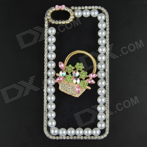 Pearl & Rhinestone Flower Basket Style Protective Plastic Back Case for IPHONE 5 / 5S - Transparent protective heart shape rhinestone decoration back case for iphone 5 brown