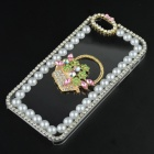 Pearl & Rhinestone Flower Basket Style Protective Plastic Back Case for IPHONE 5 / 5S - Transparent