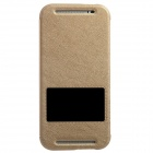 KALAIDENG Protective PU Leather Case Cover Stand w/ Visual Window for HTC One M8 - Golden