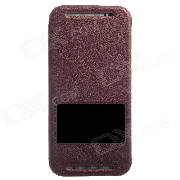 KALAIDENG Protective PU Leather Case Cover Stand w/ Visual Window for HTC One M8 - Red смартфон lg m710 ds x venture black
