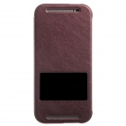 KALAIDENG Protective PU Leather Case Cover Stand w/ Visual Window for HTC One M8 - Red