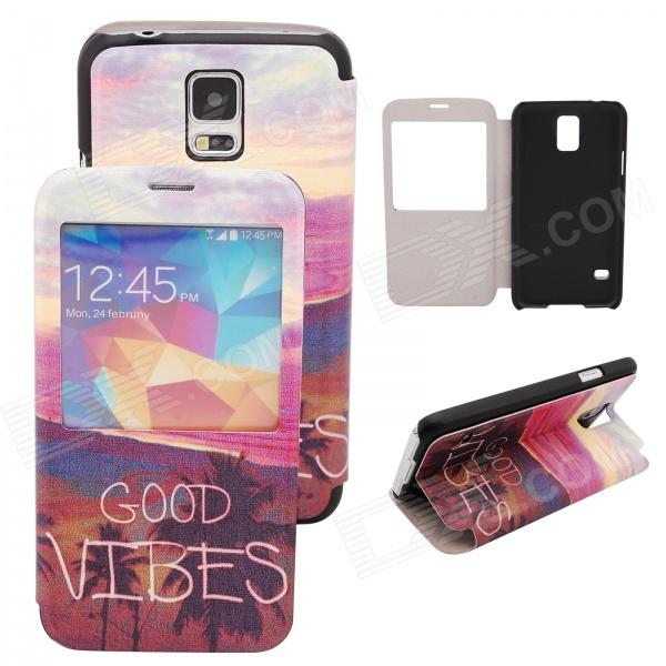 Elonbo The Beautiful Scenery PU Leather Flip Stand Full Body Case for Samsung Galaxy S5 miniisw c 3 pu leather flip open case w display window for samsung galaxy s5 off white black